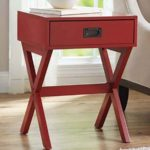 X-Leg Accent Table with Drawer