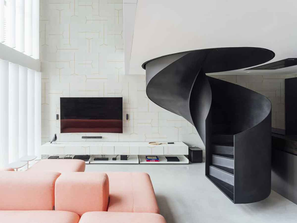 Loft Apartment By A Spiral Staircase