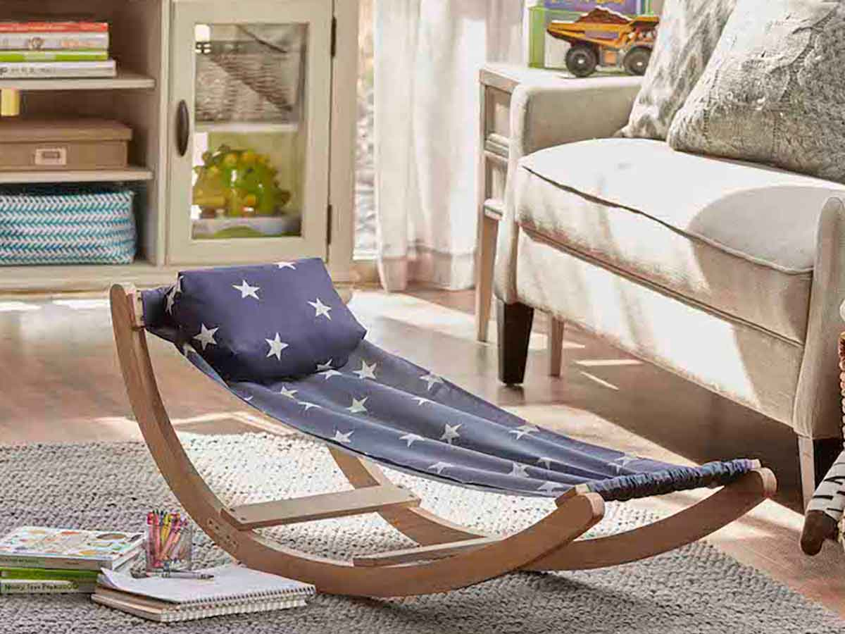 Kids Rocking Hammocks (Marine Blue Polka Dots)