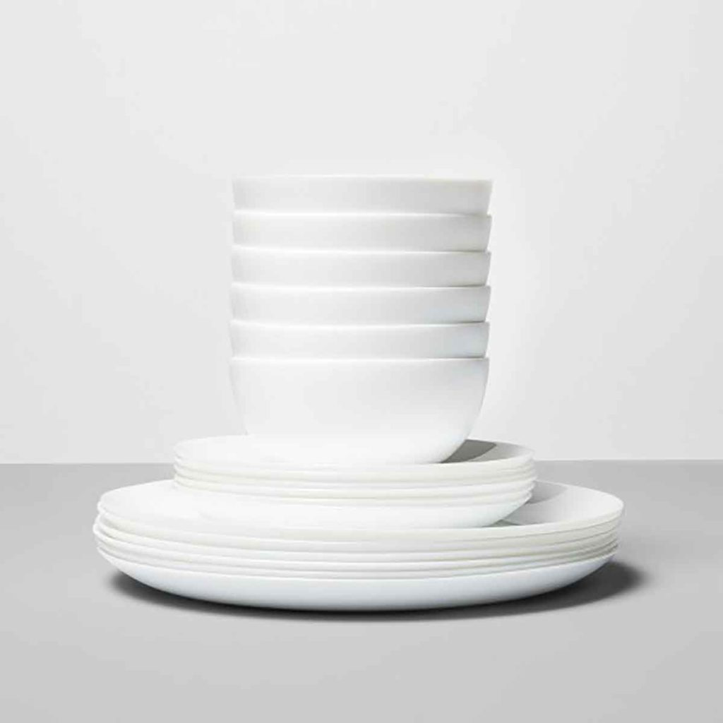 Glass 18pc Dinnerware Set White